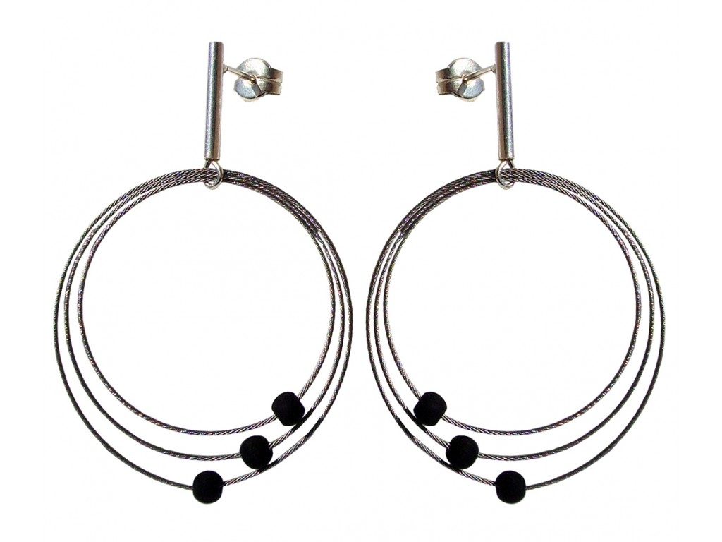 TELAR1-LAVA, STERLING SILVER EARRING. Original Handcrafted Jewel - VOPTELAR1LA02 - Original Version
